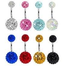 Krásný krystalový piercing do pupíku z chirurgické oceli, mnoho barev