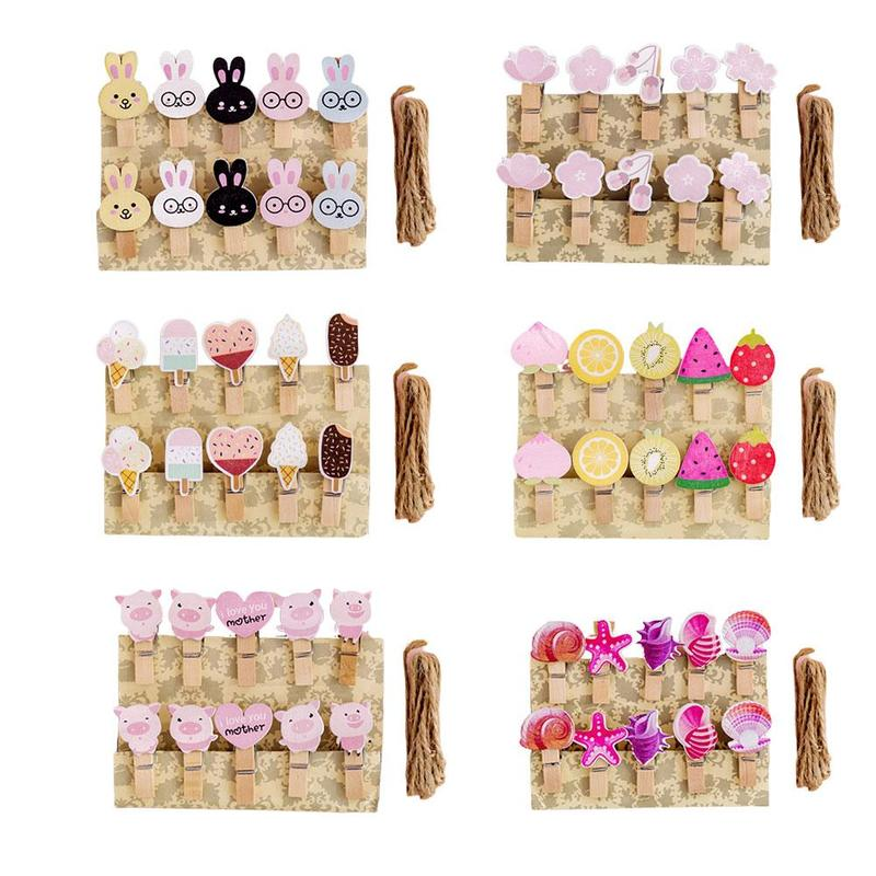 10pcs+1rope Cartoon Wooden Paper Clip Cat Claw Celebrity Photo Wall Paperclips Decoration Memo Paper Clip Clothespins Decorative