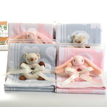 High Quality Baby Jacquard Knitted Blanket Infnat Bebe Cartoon Print Blankets Exquisite Gift Bedding