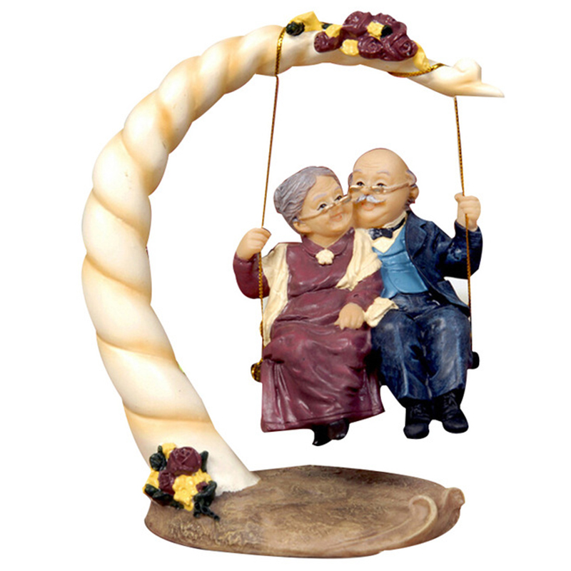 TOP Resin Swing Old Man Old Lady Ornaments Desktop Crafts Cartoon Old Parents Figurine Home Decor Accessories Wedding Gifts in Figurines Miniatures from Home Garden