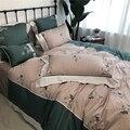 4/7 штук  винтажный набор пододеяльников с рюшами Bossom  100% Египетский хлопок  Королевский размер  потертый Комплект постельного белья  простын...