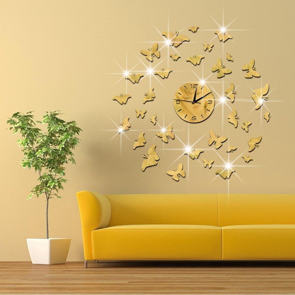 New wall clock sticker butterflies DIY 3D Wall watch home decor ...