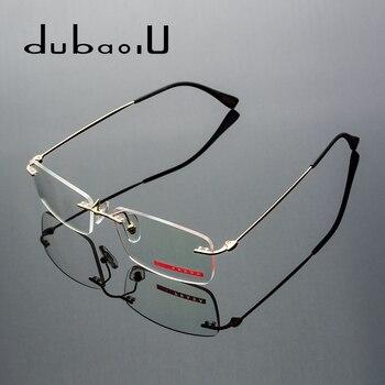 8acf8c7bde Aleación gafas hombres Rimless prescripción gafas miopía óptica lectura  progresivo fotocrómico Anti anteojos azules #525