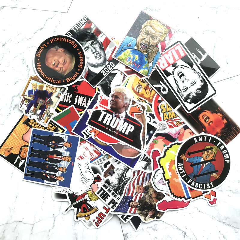 TD ZW 55Pcs/lot Cartoon Trump Stickers For Suitcase Skateboard Laptop Luggage Fridge Phone Car Styling DIY Decal Sticker