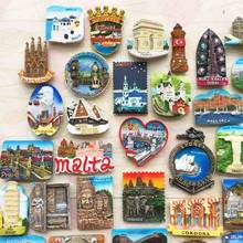 BABELEMI France Cambodia Italy Germany Greece Hungary India Israel Fridge Magnets Travel Souvenir Refrigerator Magnetic Stickers(China)