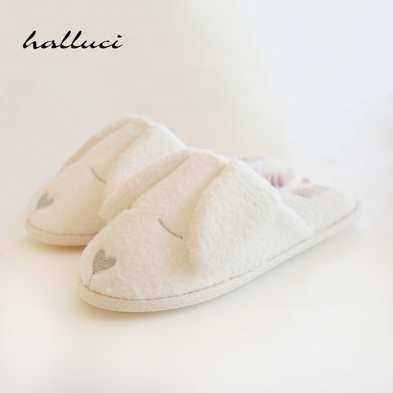 Cute Dog Animal Pattern Cotton Home Slippers Women Indoor Shoes For Bedroom Adult Guest House Slippers Winter Soft Bottom Flats new winter soft plush cotton cute slippers shoes non slip floor indoor house home furry slippers women shoes for bedroom z131