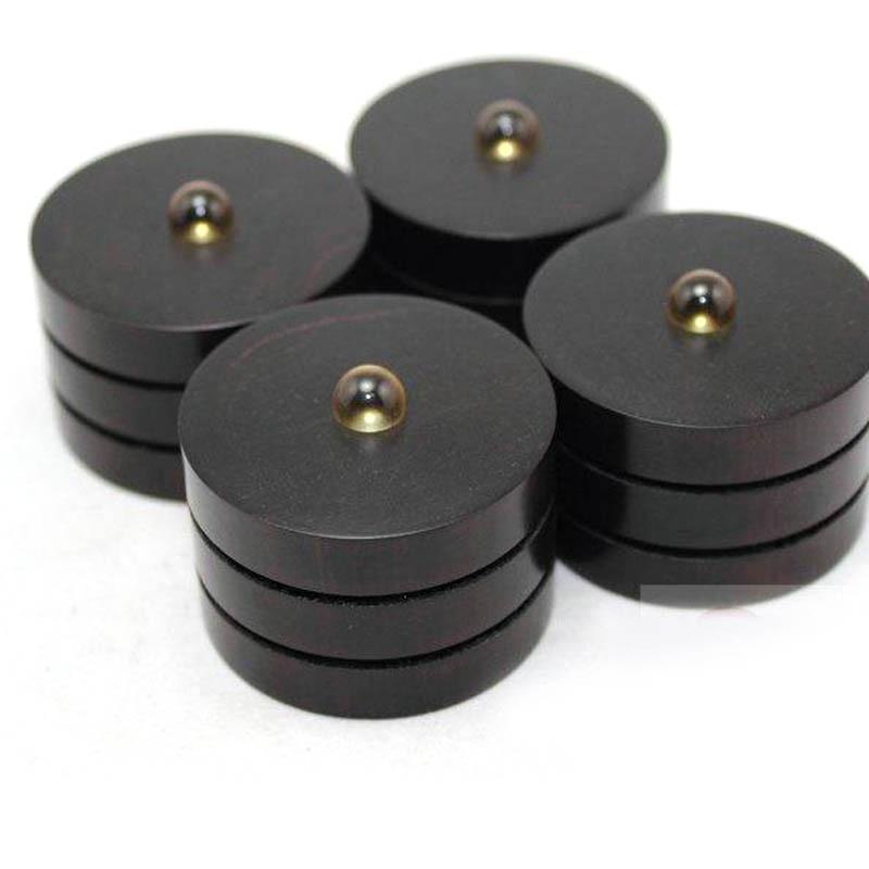 Livraison gratuite 4 paire 43 MM Anti-choc ébène choc pointes Stand W/Pad avec cristal pour CD platine amplificateur haut-parleur