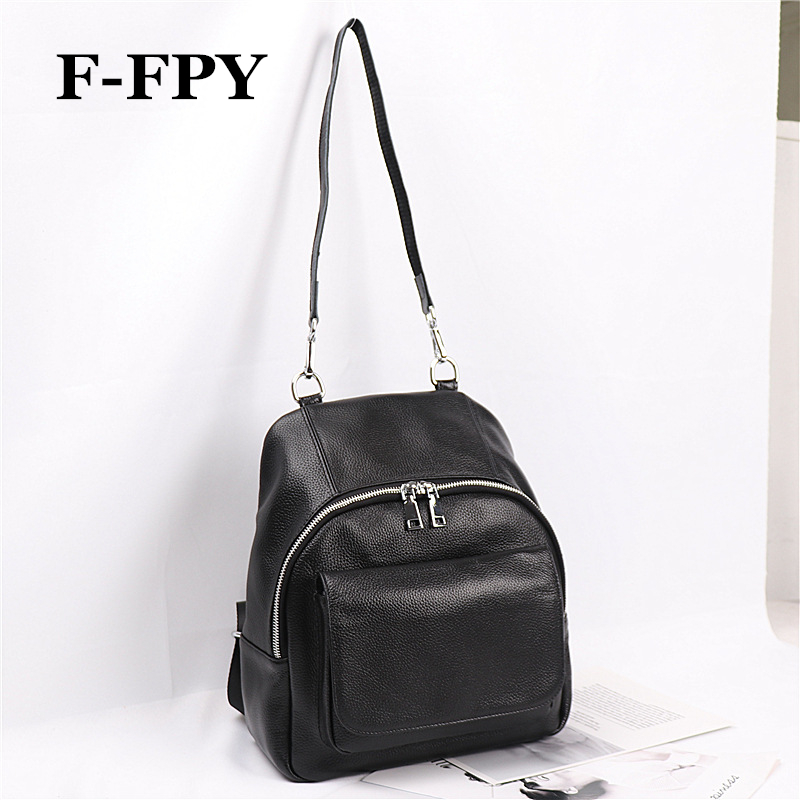 F-FPY New Women Black Backpacks High Quality 100% Genuine Cow Leather Girls SchoolBag Casual Travel Bag Notebook Laptop Knapsack fashion 100% real genuine leather casual women s backpacks female casual knapsack laptop bag ladies pocket girl schoolbag hp47