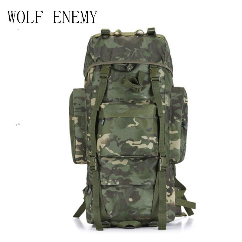 Hot 70L grande capacité sac de sport en plein air militaire sac à dos tactique randonnée Camping imperméable à l'eau résistant à l'usure en Nylon sac à dos