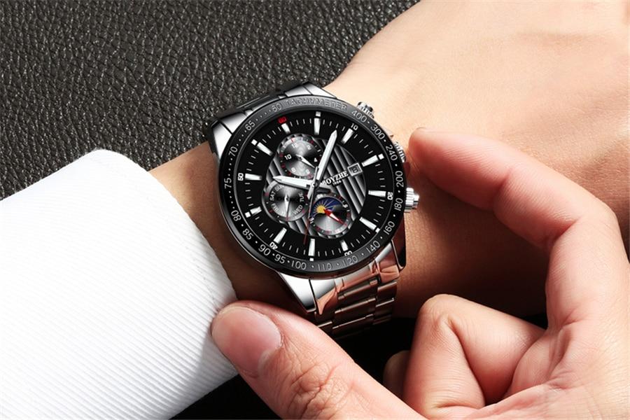 Fase de la luna Bisel de plata Dial de acero inoxidable para hombre - Relojes para hombres - foto 5
