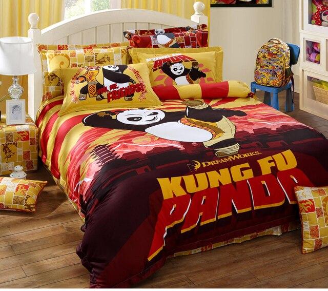 Kung Fu Panda Full Queen King 4pcs Lovely Cartoon Bedding Sets 100 Cotton Sanding Duvet