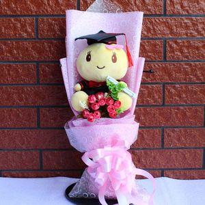 Image 4 - Большая стежка доктор шляпа Ститч Кот Дораэмон Тоторо плюшевый мишка плюшевые куклы игрушки мультяшный цветок букет для студентов школьного возраста детские игрушки