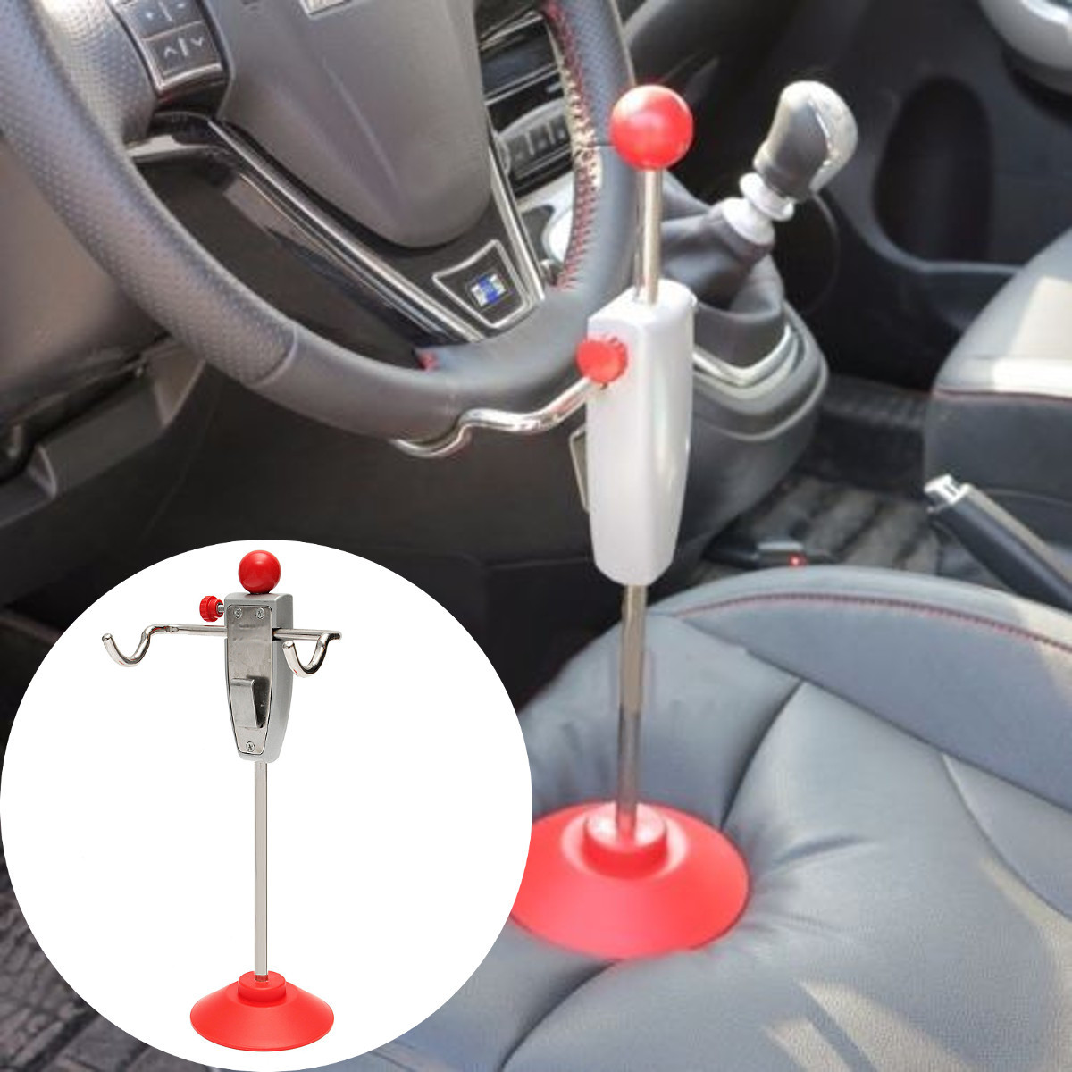 14.5 Inch Car Alignment Rack Truck Van Steering Wheel Leveling Holder Stand Tool System Red Silver
