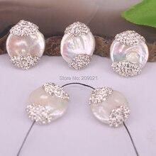10 Uds. De perlas de agua dulce para mujer, espaciador de diamantes de imitación, amuleto de cuentas sueltas, conector para fabricación de joyas