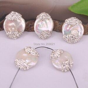 Image 1 - Connecteur de charme pour femmes, 10 pièces, rouleau de strass deau douce, perles amples, fabrication de bijoux