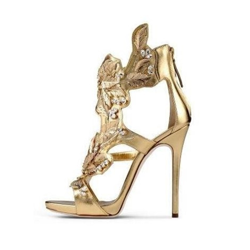 Women Metallic Crystal Embellished Sandals High Heels Gold Winge Summer Dress Shoes Cut-out Back Zipper Cage Shoes 2018 hot sale crystal embellished strappy sandals beige suede cut out cage shoes for women back zipper high heel summer dress shoes