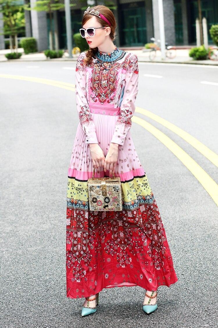 S-3XL haute qualité printemps 2018 piste nouvelles femmes plissée de luxe perlé à la main mode rétro impression robe à manches longues - 5