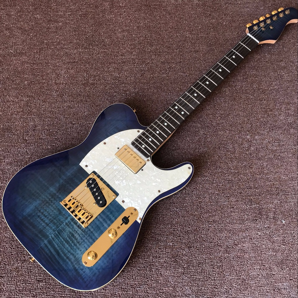 New arrive Custom Shop blue TELE Electric Guitar Real photo shows new arrival g custom shop 1959 r9 tiger flame les supreme electric guitar double tiger flame top paul guitar real photo shows