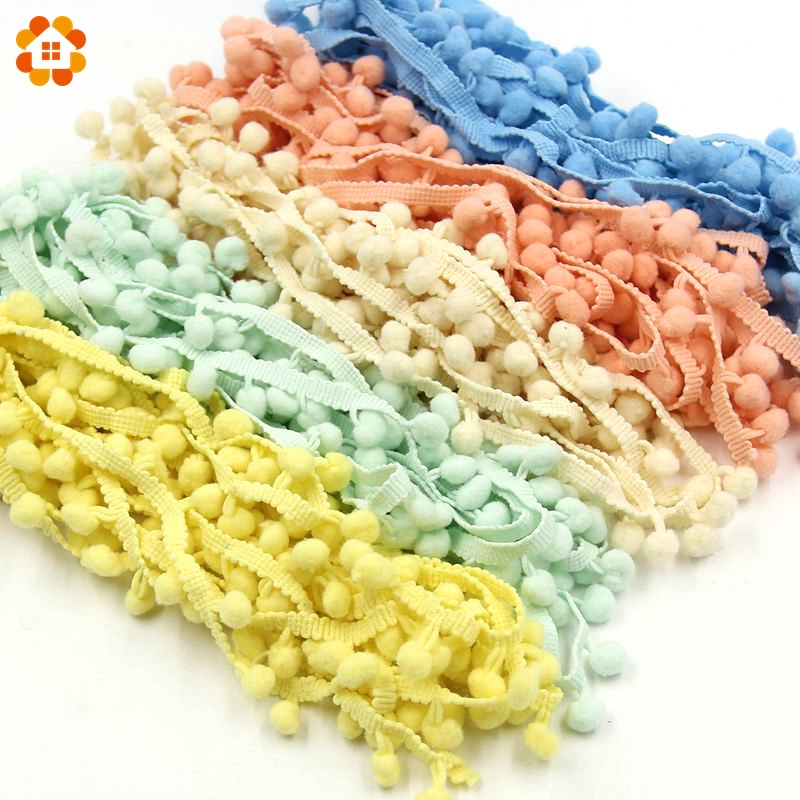 5Yards/Lot  Hot Sale 10MM Pom Pom Trim Ball Fringe Ribbon DIY Sewing Accessory Lace 17 Colors  For Home Party  Decoration embroidered tape and pom pom trim halter top