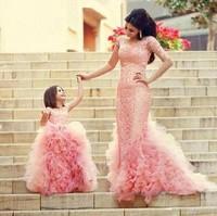 Мать и дочка свадебные платья; Длина до пола платье элегантные вечерние Детские платья на выпускной 2016 розового цвета для девочек платье бе...