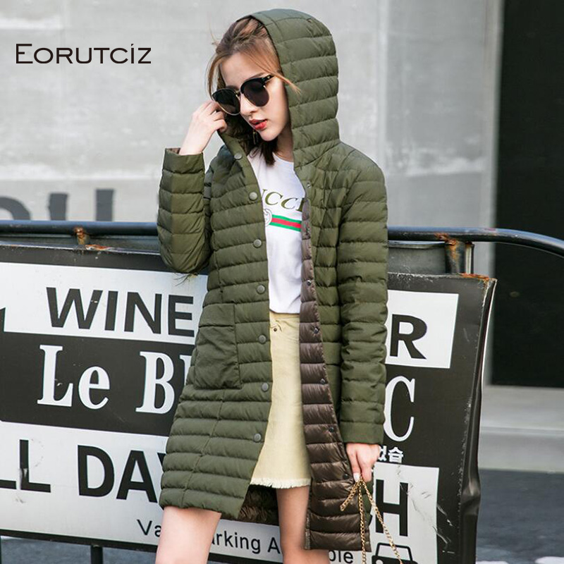 EORUTCIZ Winter Plus Size 3XL Long   Down     Coat   Women Ultra Light Hoodie Jacket Spring Slim Vintage Casual   Coat   LM403