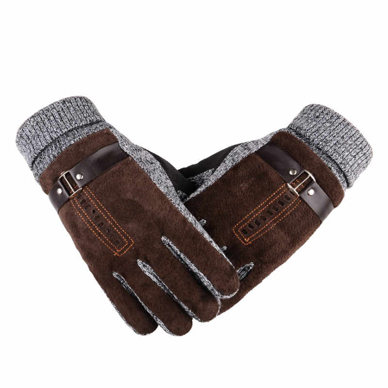 Mens Long Cotton Glove 2018 Winter Wool Knitted Mitten Hand Warmer Handschoenen Warm Fleece Womens Gloves Gants Femme