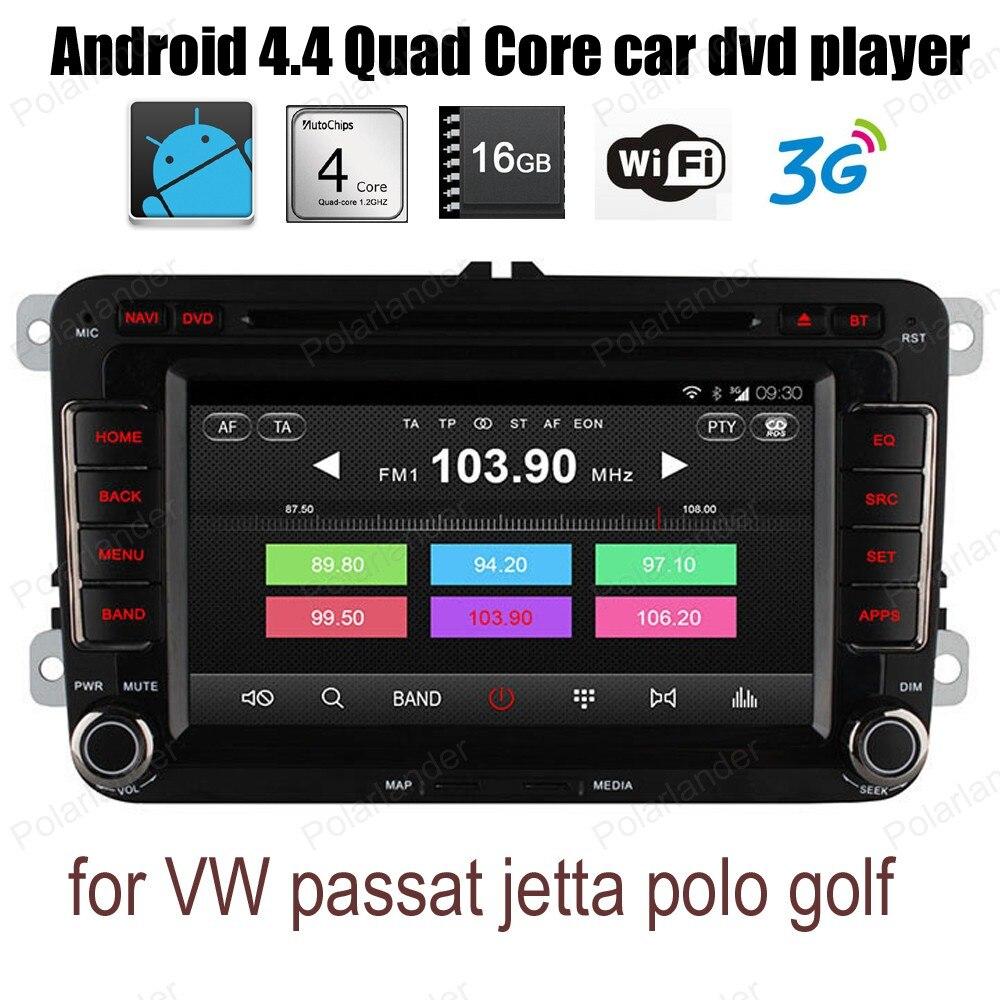 Para V/W/p assat/j etta/p olo g/olf Android4.4 Carro DVD CD quad Core suporte rádio wi-fi 3g DTV BT GPS DAB + DVR TPMS OBDII