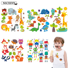 Nicediy Heat Transfer Patches For Clothes Applique Baby Decoration Cute Cartoon Animal Robot Combination Iron on