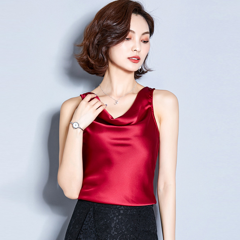 Shirts Tank-Tops Camis Club Silk Basic Black Satin Women White Red Plus-Size Summer Solid