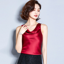 Club Satin Women Solid Camis Top 2019 Summer Shirts Silk Sexy Casual Basic Tank Tops White Plus Size Black Red