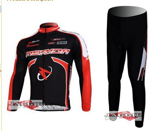 Free shipping Merida Flex stay cycling Team wear clothes bicycle MTB Road bike riding long sleeve jerseys + Z123 sets BLACK RED