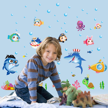 SK7070 Underwater World Marine Fish Wall Stickers Cartoon DIY Decals for Kids Rooms Baby Bedroom Decoration