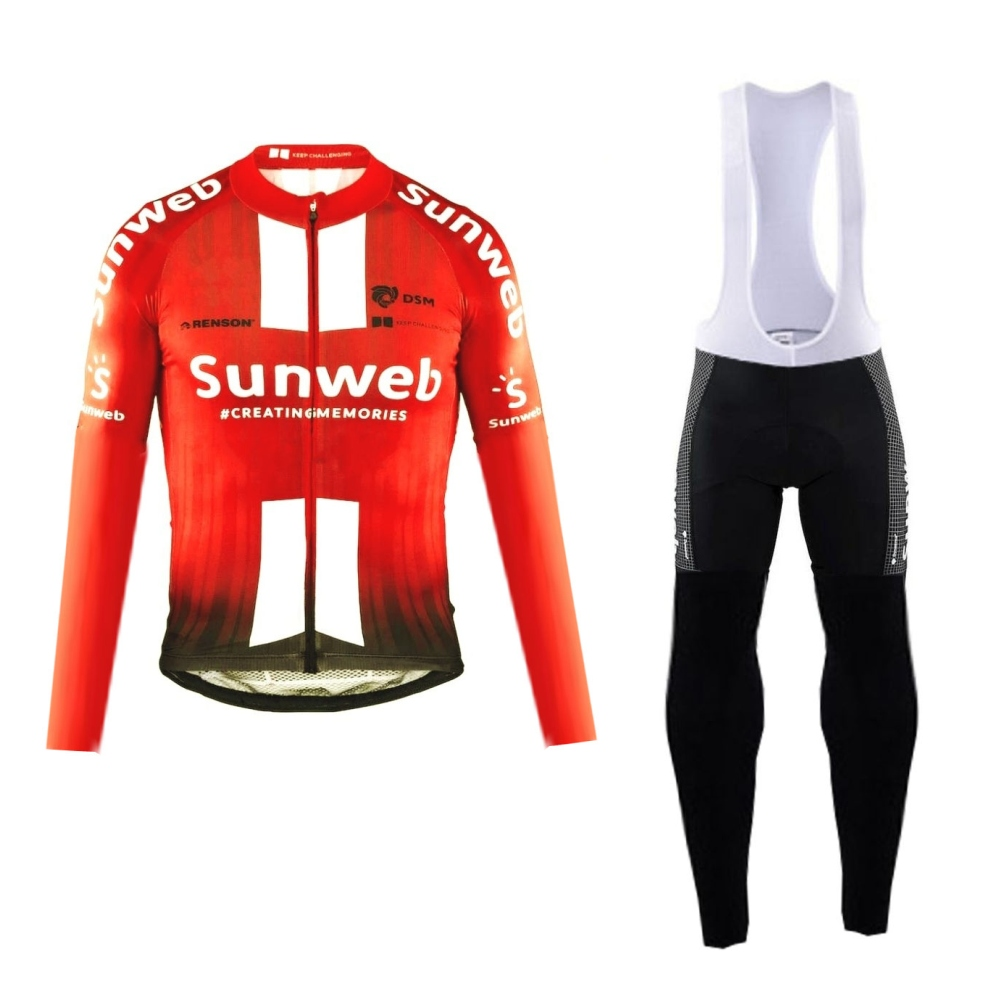 2019 pro team sunweb winter fleece red cycling jersey kits mens warmer bike cloth MTB Ropa Ciclismo Bicycle maillot gel pad
