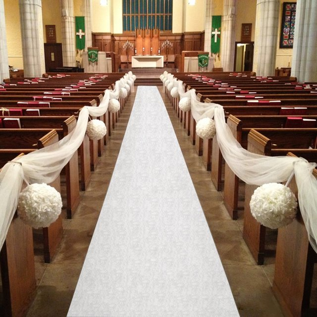 Wedding Party Carpet Rug Aisle Runner 30mx90cm White Fl Decoration Nonwoven Outdoor With Pull String