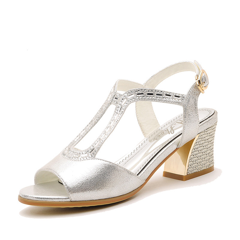 Nice New Arrival Summer Sexy Rhinestone Girls Sandals Open Toe Thick Heel Women Fashion Ankle Strap Party Sandal Shoes