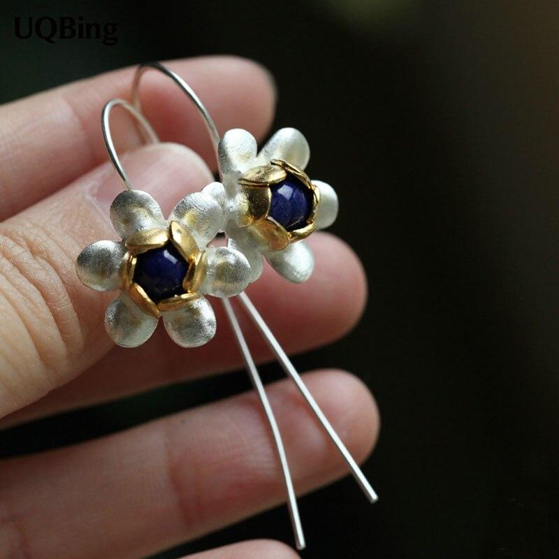Latest New Style Fashion 925 Sterling Silver Drop Earrings Beautiful Flower Earrings Jewelry Pendientes Brincos Fashion Jewelry