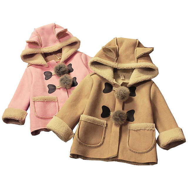 Newest 2016 Children Winter Jackets For Girls Fashion Pocket Cute Balls Lambswool Outwear Kids Cotton Hooded Coat For 2-8Years