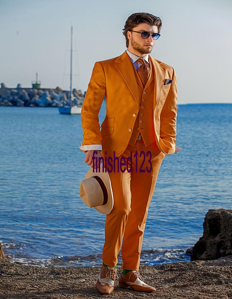 Fashionable Two Button Orange Groom Tuxedos Groomsmen Mens Wedding ...
