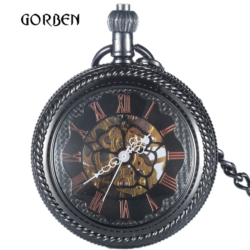 2020 Black bronze Mechanical Pocket Watch Luxury Hand Wind Steampunk Skeleton Mens Pocket FOB Watches Chain Relogio De Bolso