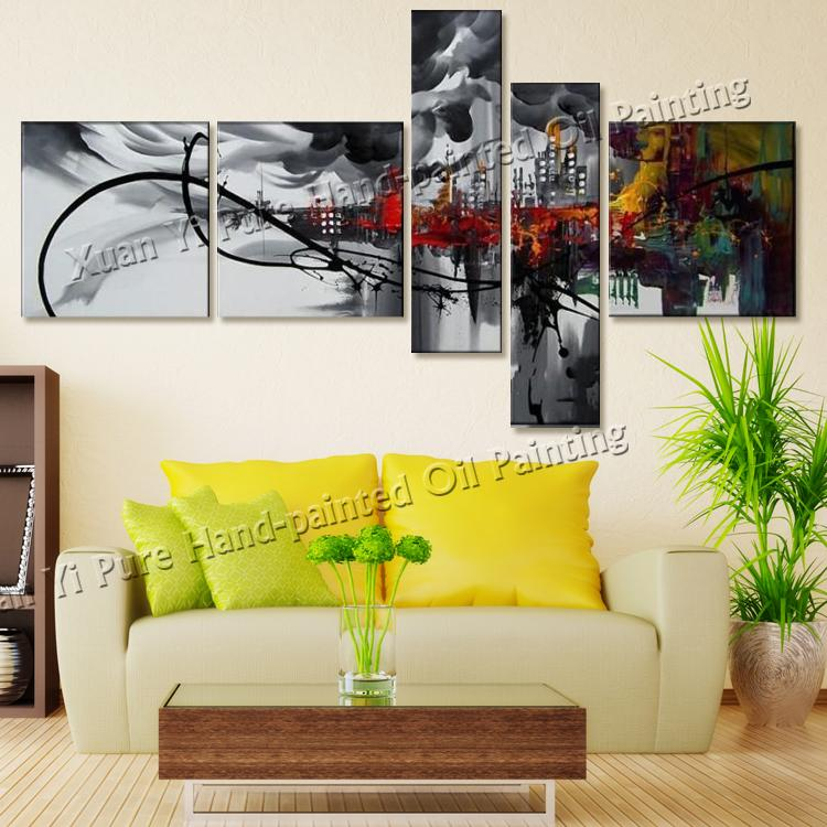 Handmade Black White And Red Wall Art Modern Home Decoration Women ...