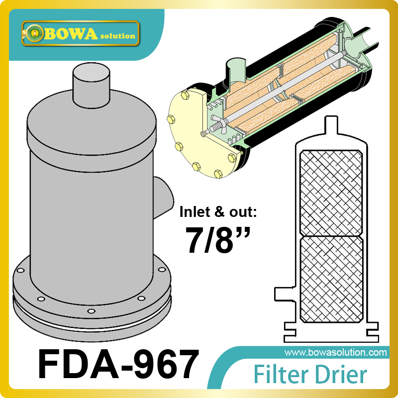 FDA-967 replaceable core filter driers are designed to be used in both the liquid and suction lines of cooling equipment. thermo operated water valves can be used in food processing equipments biomass boilers and hydraulic systems