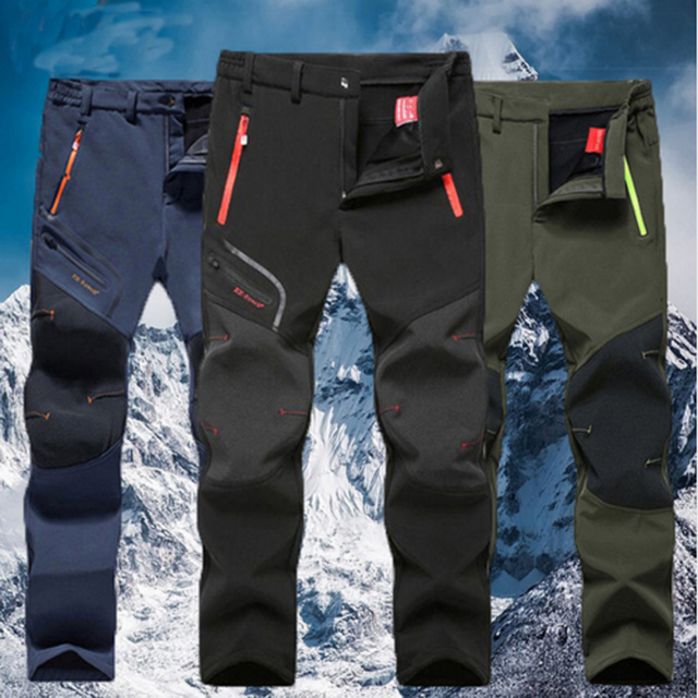 f52538be21db6 Men Oversized Plus size Winter Softshell Fleece Outdoor Pants Trekking Fish  Camp Climb Hiking Ski Warm Travel Trousers Free ship