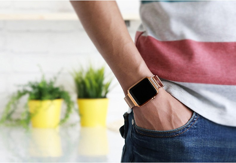 88ca85d2b76 2015 new Rose Gold   gold Milanese Loop band   Link Bracelet Stainless  steel strap for apple watch 42mm 38mm Watchband-in Watchbands from Watches  on ...