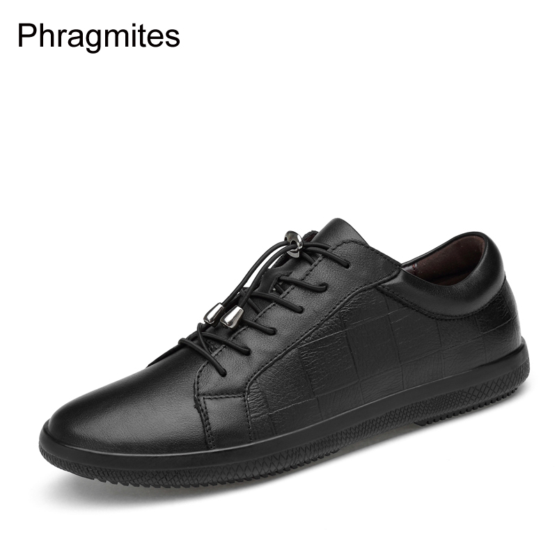 Phragmites Genuine Leather Shoes Men Usual Dress Shoes Big Size 46 Unisex Flats 2019 New Casual