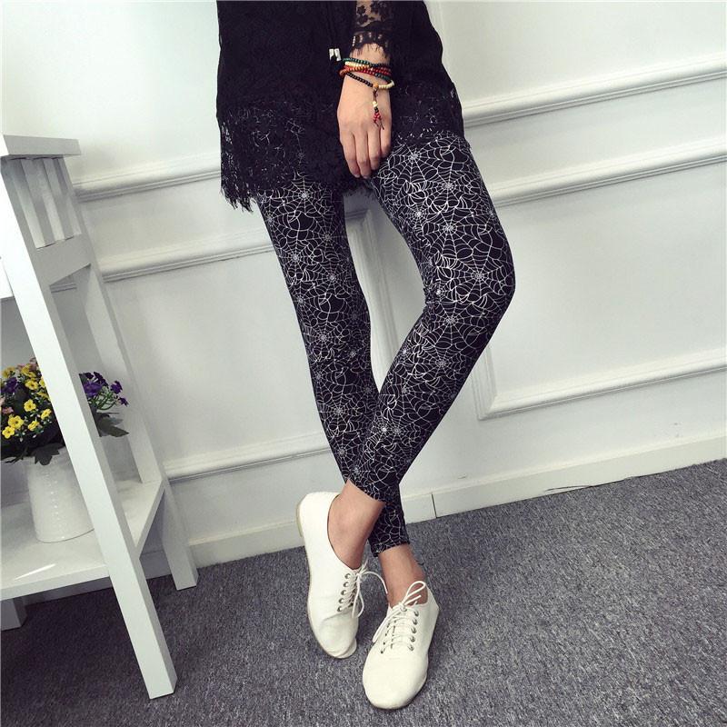 BIVIGAOS Spring Summer Womens Fashion Black Milk Thin Stretch leggings Colored Stars Graffiti Slim Skinny Leggings Pants Female 66