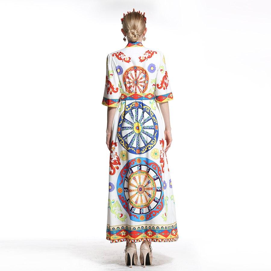 Noir Mode Mi Robes Robe blanc Femmes 4 De Longues Arabe 2018 Imprimer Roue D'été Lâche 3 Vintage Piste mollet Manches OqZ5wR5