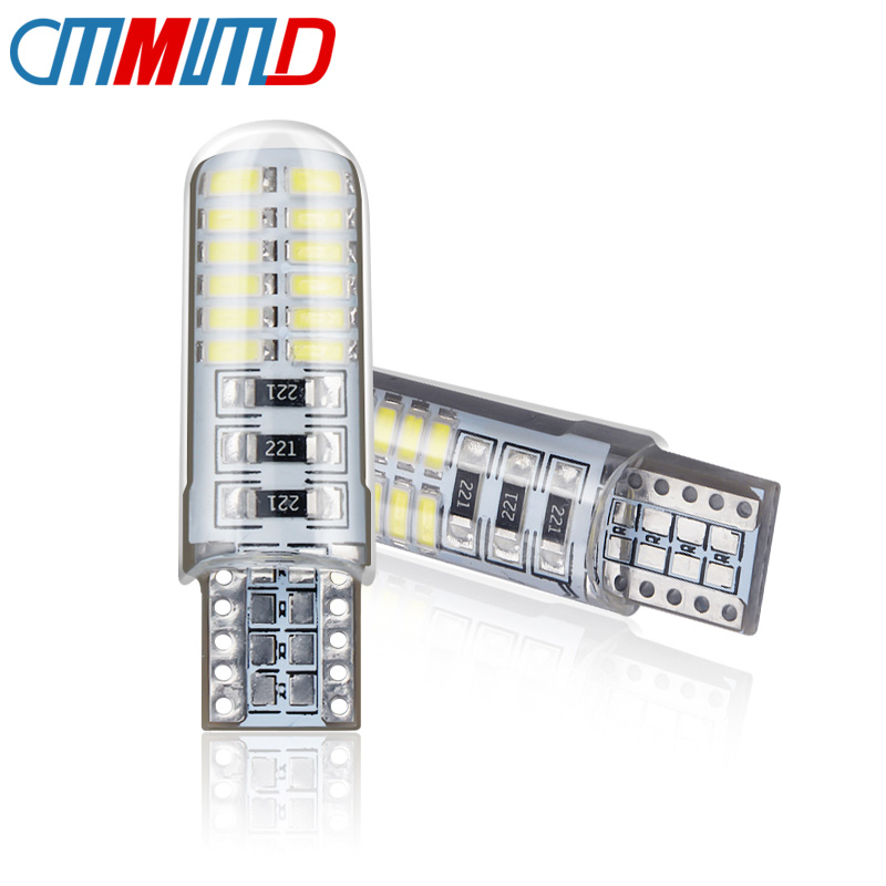 <font><b>T10</b></font> w5w 24smd 3014 White Silicone Shell Car Reading Dome Lamp Silica Gel Waterproof Wedge Light 12V Car License plate lamp bulb image