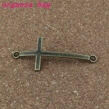 Charms cross connector 100Pcs/ lots 21.2x51mm Antique bronze Alloy ewelry Fit Handmade Bracelets F- 56