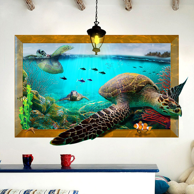 Amazing Sea Turtles 3D Wall Stickers