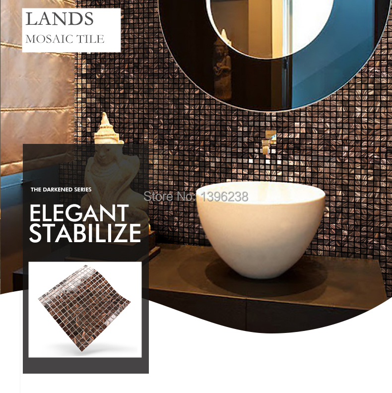 Brown glass gold line pattern mosaic tiles for Home dining room Kitchen  Bath shower wall tile